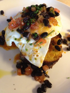 jalapeno cornbread, fried eggs, black beans & guindilla pepper