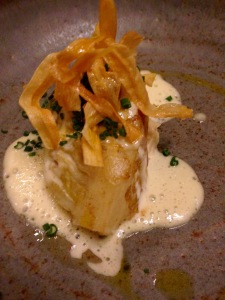 Butter braised cabbage with crab, goats butter and crow garlic