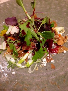 Pickled beetroot with beenleigh blue cream, violet mustard, linseeds and walnut