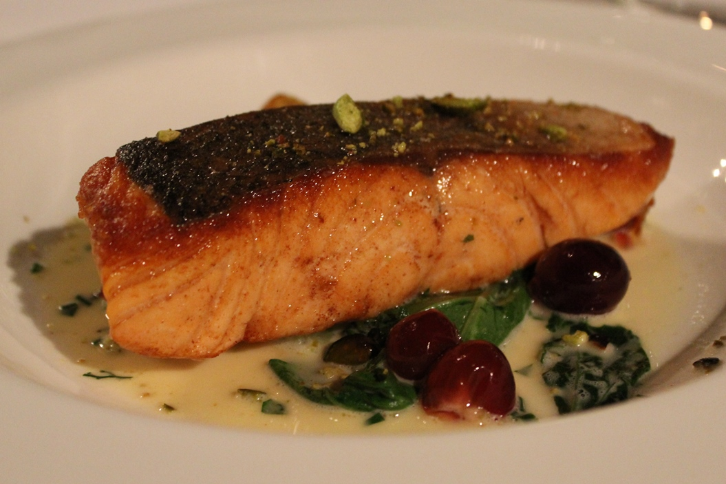 Salmon with red gooseberries